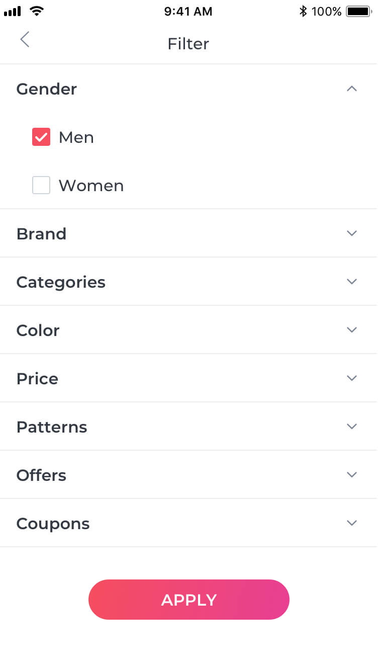 E-commerce Filter Page