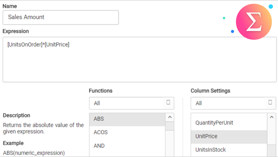 Support for query expressions across the categories like numbers, aggregation, conditional, logical, date and string.