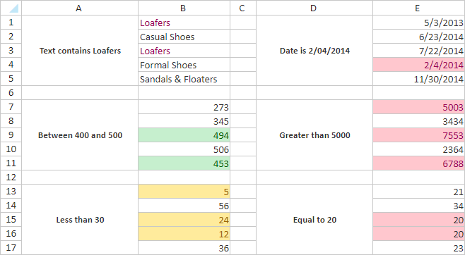 Conditional formatting