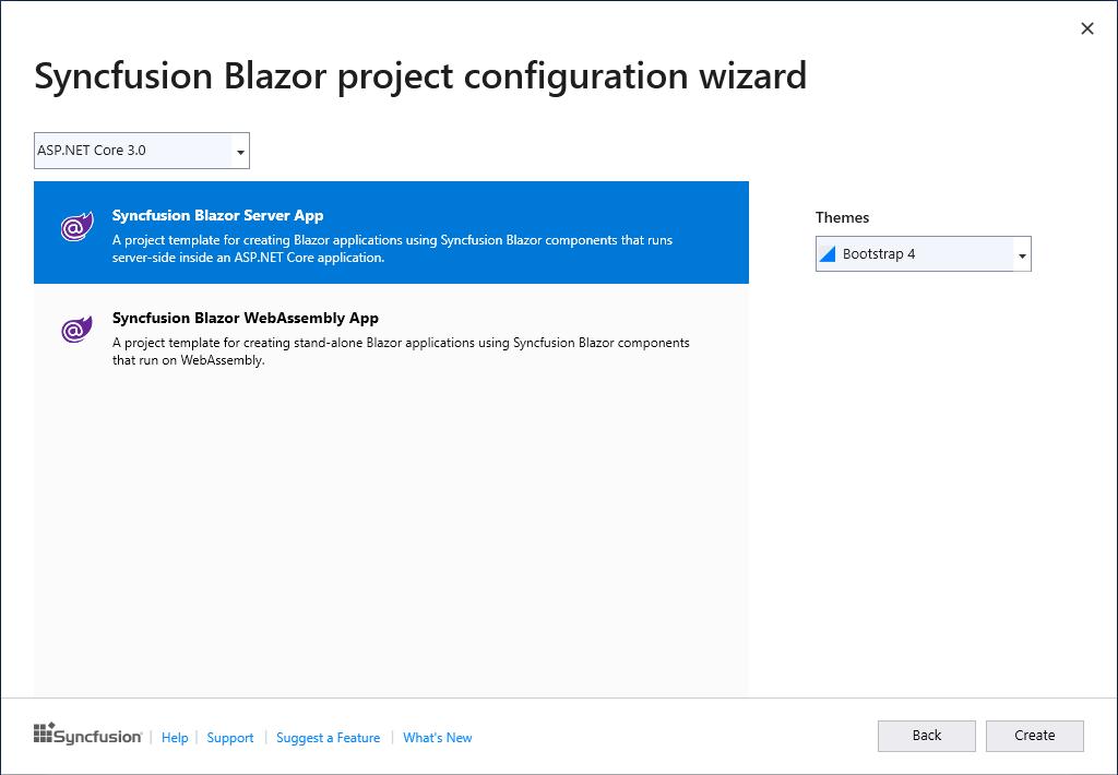 Syncfusion Blazor Extensions configuration wizard