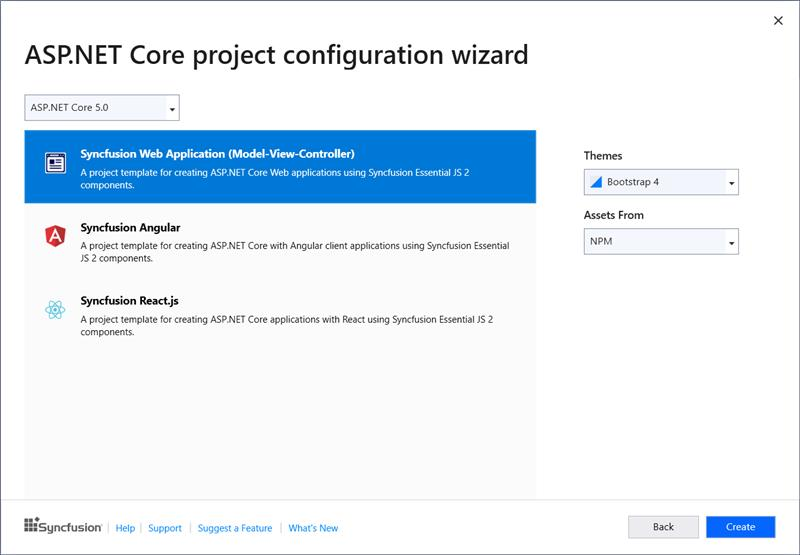Syncfusion ASP.NET Core Extensions configuration wizard