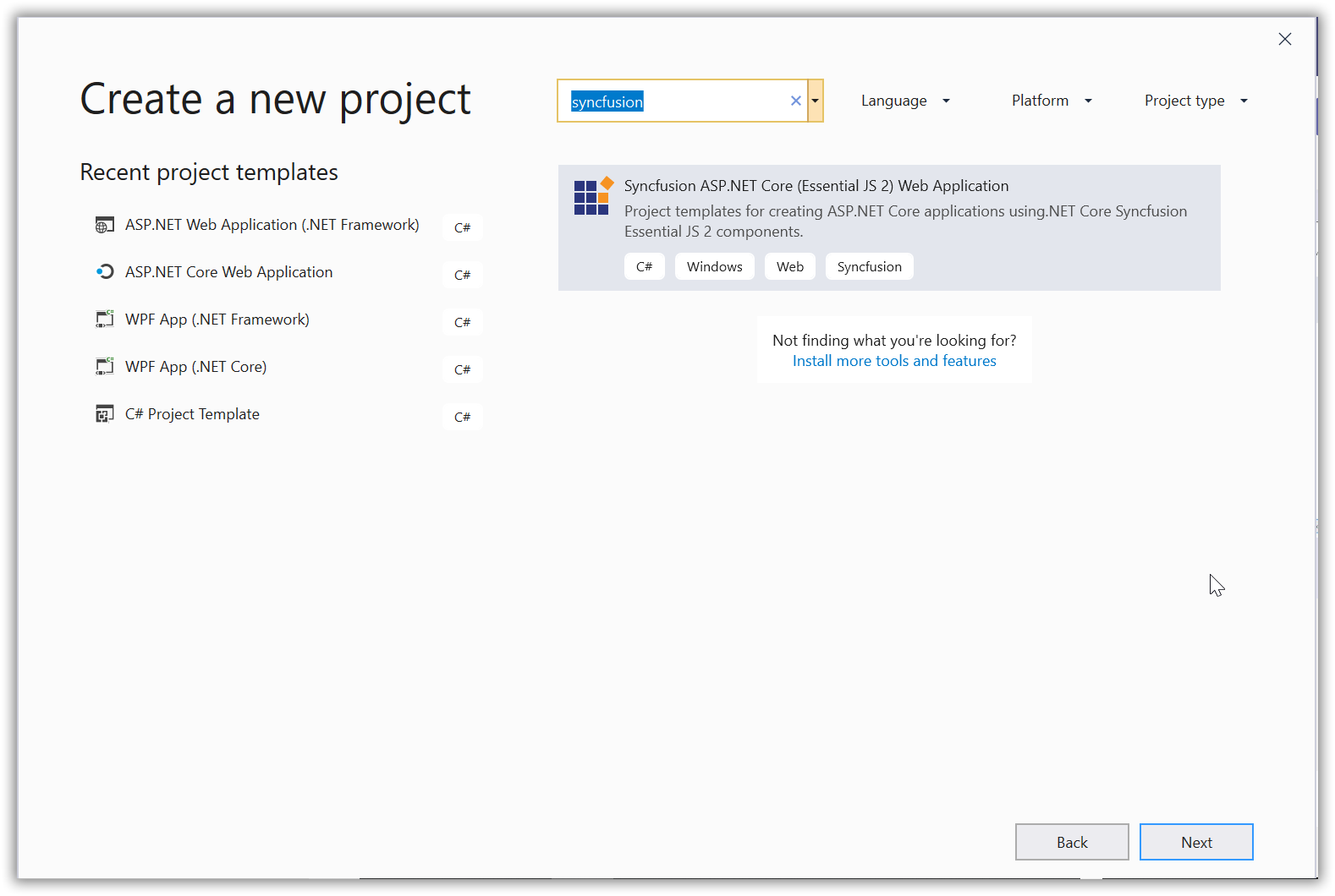 Syncfusion ASP.NET Core Extensions new project creation