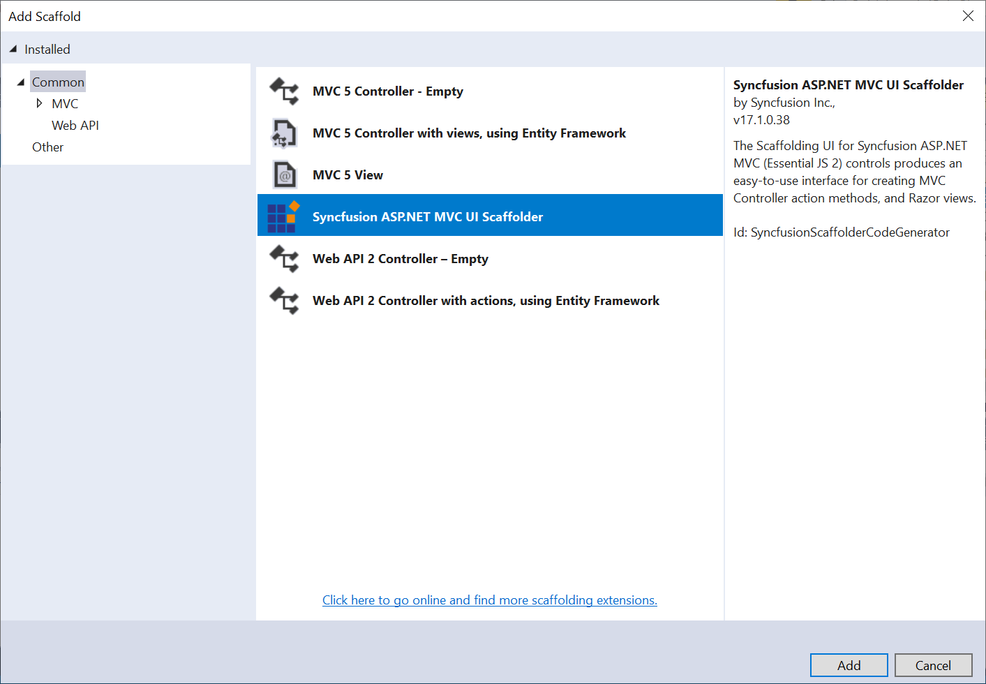 Syncfusion ASP.NET MVC Extensions add scaffloding