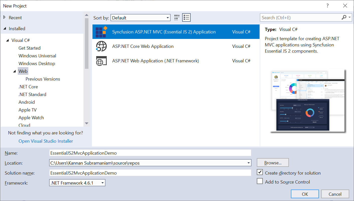 Syncfusion ASP.NET MVC Extensions new project creation