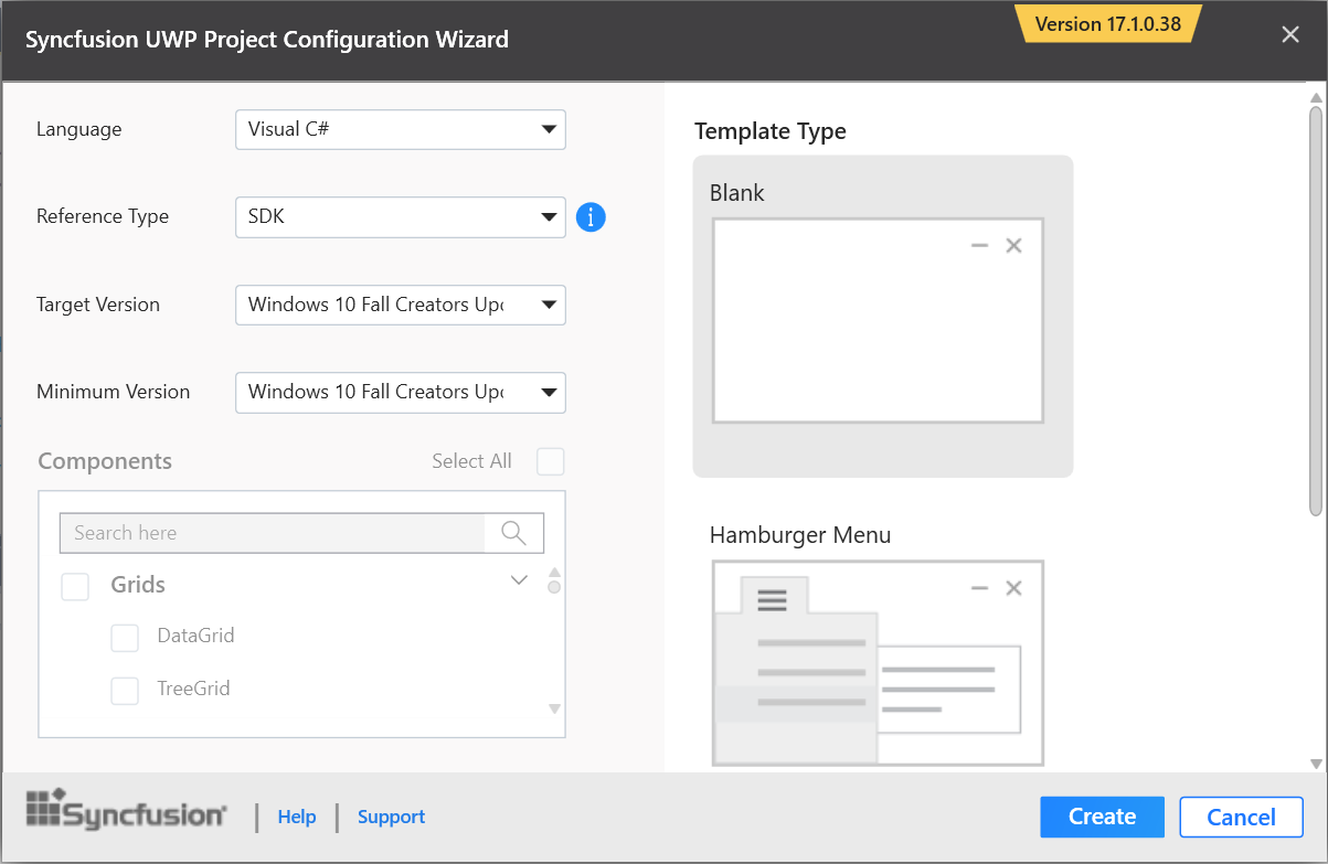 Syncfusion UWP Extensions configuration wizard