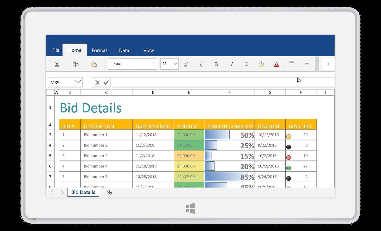 UWP Spreadsheet Control