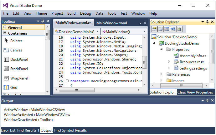 syncfusion WPF Docking