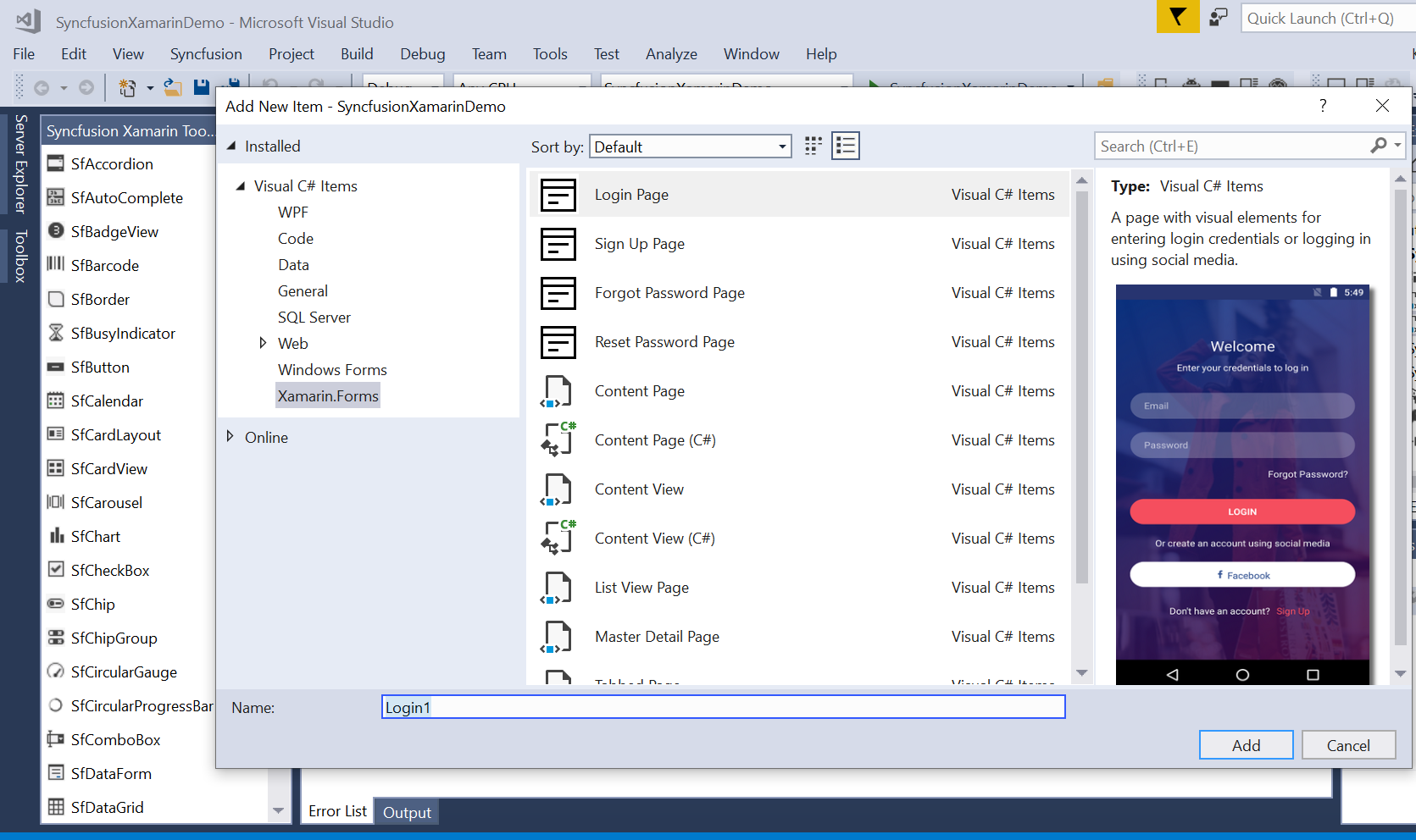 Syncfusion Xamarin Extensions add new item
