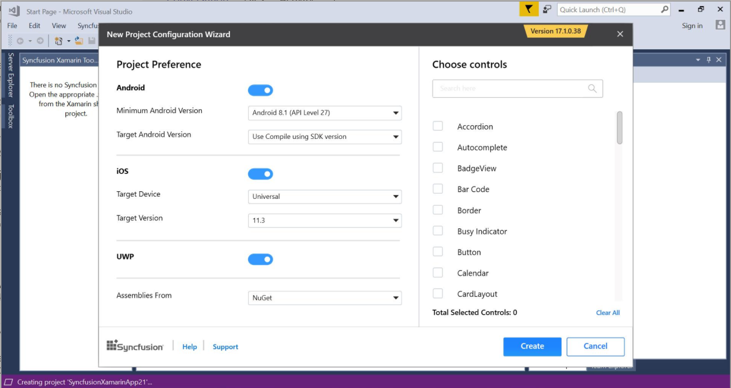Syncfusion Xamarin Extensions configuration wizard